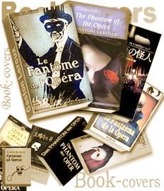 Book-covers of the distinctive The Phantom of the Opera books