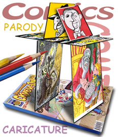 Comics-parody, colouring-books and caricatures